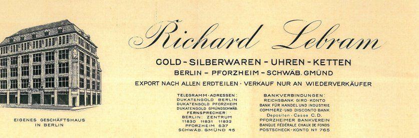 Unter der Lupe - Die Berliner Gold-, Silberwaren- und Uhrengroßhandlung Richard Lebram